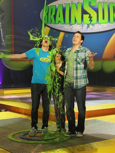 Slime Shades|Good thing Matt Bennett had his geeky glasses to protect him, or else he would've got a glob of goo right in the eyeball!