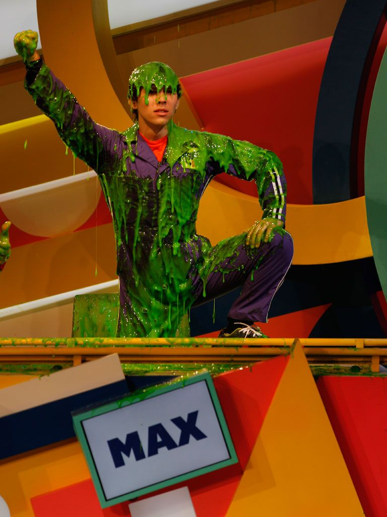 Royal Threads|All hail the king of slime! Max Schneider gets crowned with a majestic green coat of goo in his honor.