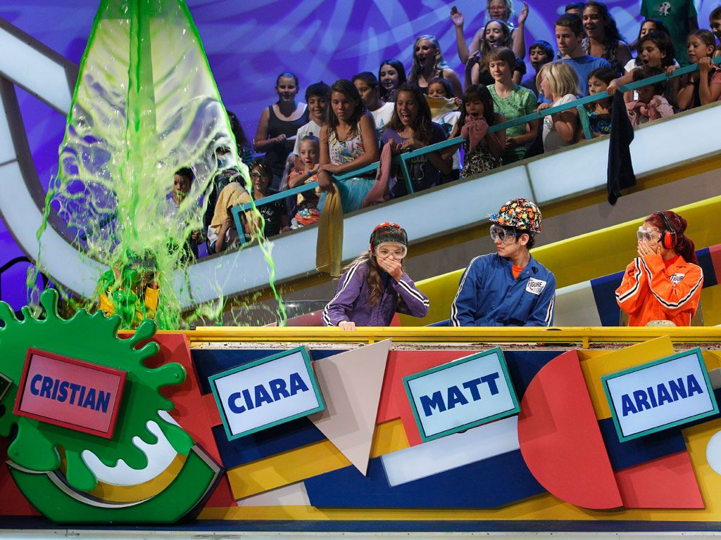 Quick, But Not Subtle|We're not sure whose more surprised...the unsuspecting victim getting immersed in a shower of gooey slime, or our Nick celebs!