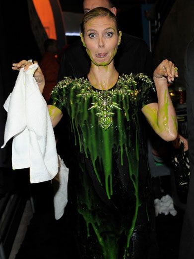 Klum Clown|Slime makes you silly! Well, at least after getting a million gallons of it squirted in your face like Heidi Klum!