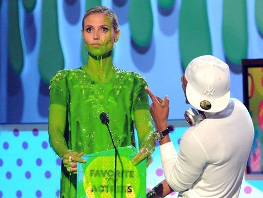 Stuck In Slime Shock|Is Heidi Klum stuck in a slime stupor? Or is she just shocked from getting slime rocked? Either way, her sliming was goo-lorious. Snap out of it, Heidi!