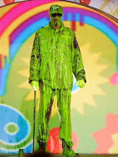 Sticky-Icky-Icky|Snoop Dogg's super sliming was one of the best of the night! It looks like this slime-y dog might need to see a vet to remove all that goo.