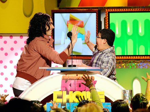 Slime Five|Russell Brand and Rico Rodriguez gave each other five right before they got attacked with sludgy slime. Watch out, guys
