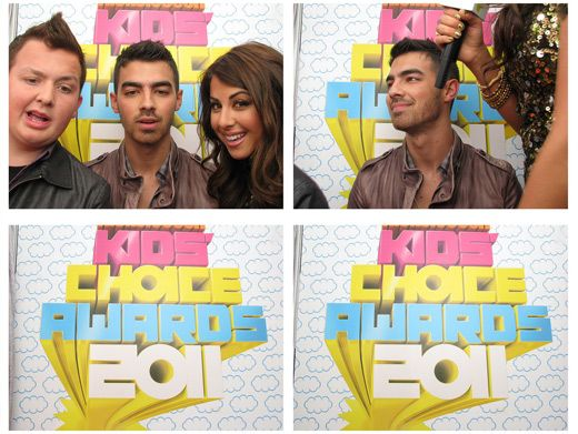 Jonas Jipped!|It looks like Joe Jonas skipped out early on this round of photo booth pics with Noah Munck and Daniella Monet...Don't be shy guys!