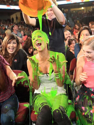KCA 2012: Halle Berry Gets Slimed!|Creepy Hater Voice suspect number one, Halle Berry, arrived late, but she was right on time to get slimed.