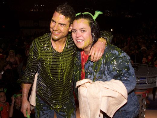 Slimiest. Hug. Ever.|Tom Cruise and 7-time host Rosie O'Donnell got way slimed at the '01 KCAs.