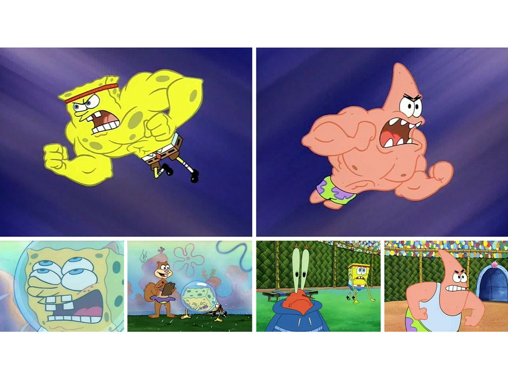 spongebob squarepants buff to school