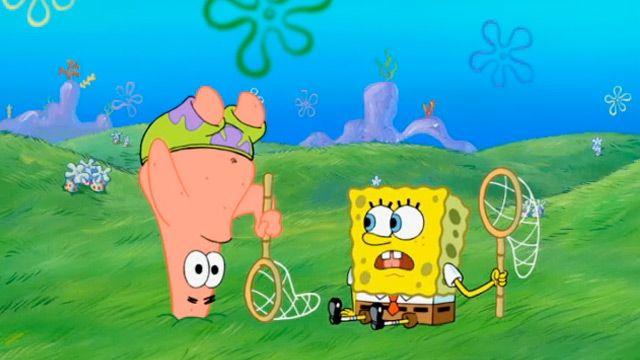 спанч боб ловить медуз